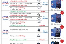 Bảng báo giá máy hàn Tân Thành Quý 3 2019
